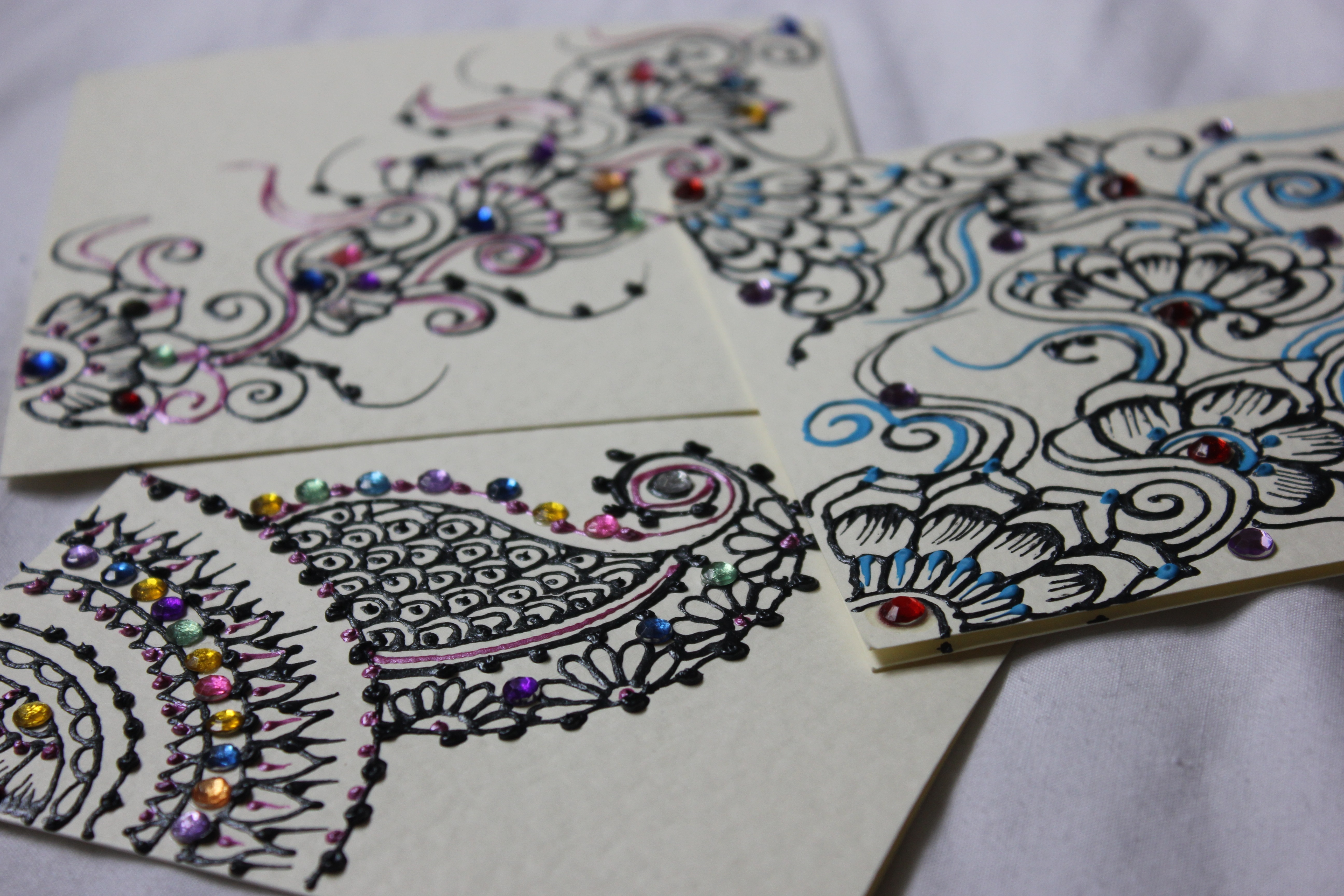 Hand painted greeting cards code 185 3 hand painted and embellished greeting cards comes with envelope kristyandbryce Image collections