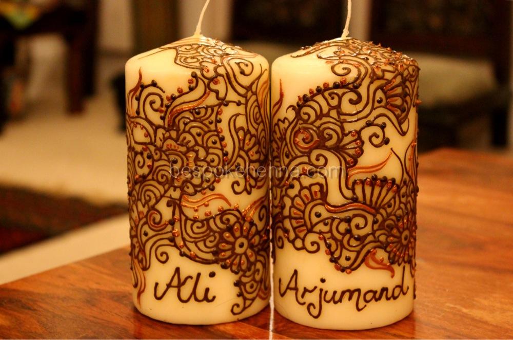 Mehndi Candles Personalised : Personalised vanilla pair code