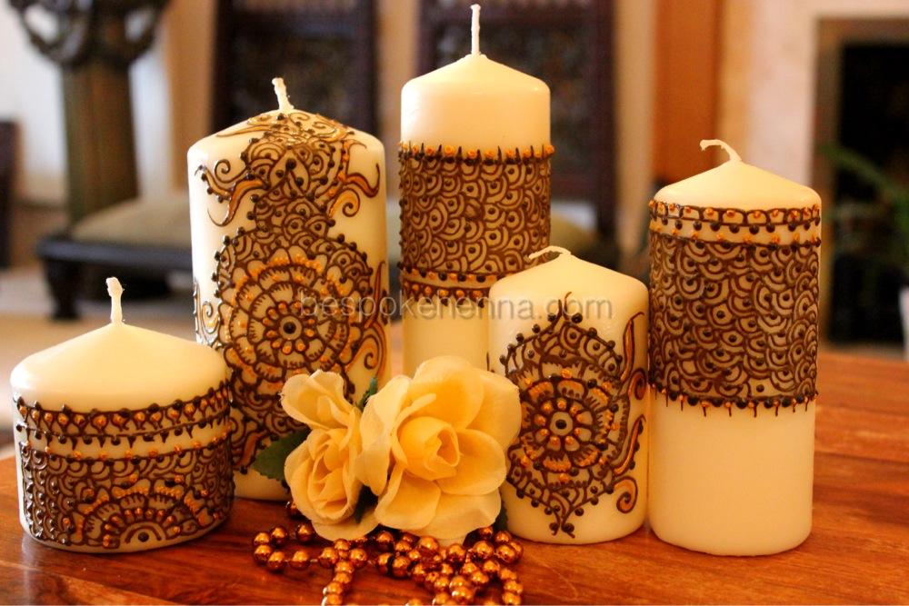 Mehndi Candles Personalised : Luxury piece set code